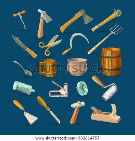 A lot of  tools for traditional crafts - stock vector