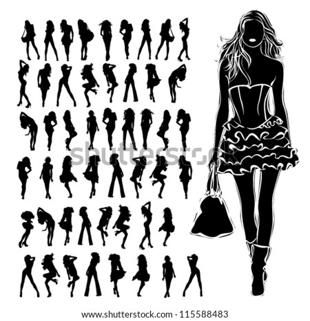 A lot of vector silhouettes of beautiful women on white background - stock vector