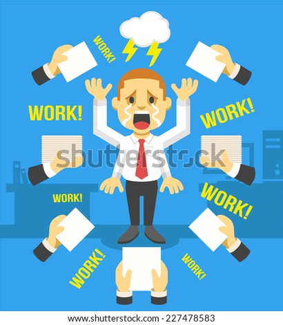 A lot of work coming. Multitasking man. Vector flat illustration - stock vector