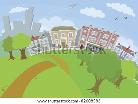 A lovely urban scene with park and houses - stock vector