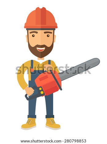 A lumberjack holding a chainsaw with hardhat. A Contemporary style. Vector flat design illustration isolated white background. Vertical layout - stock vector