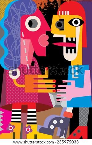 A man and a woman vector illustration. Modern fine art portrait. - stock vector