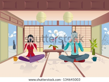 A man and woman read. He read in a digital tablet and She in a smartphone. They are sitting in a traditional Japanese house. EPS10. No transparencies. - stock vector