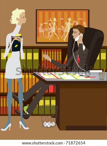 A man and woman working in an office. - stock vector
