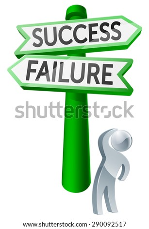 A man considering his options by looking up at a sign reading success or failure - stock vector