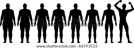 A man diets and exercises from fat to fitness in before and after series frontal view - stock vector