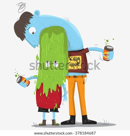 a man drinks alcohol and vomit on his friend head - stock vector