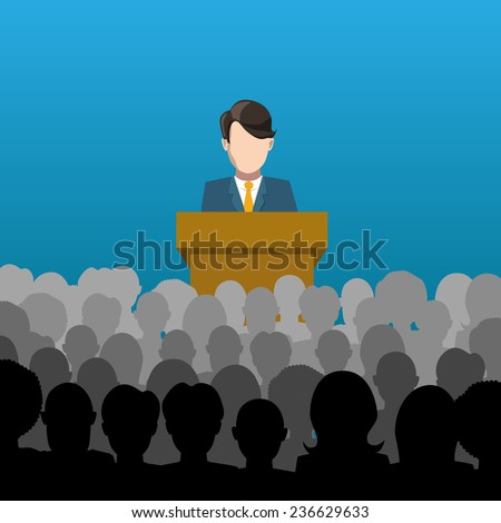 A man holds a lecture to an audience flat illustration - stock vector
