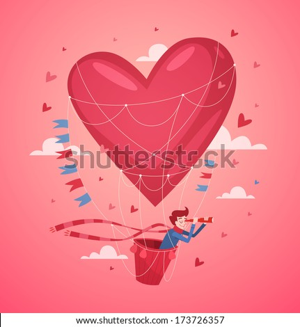 A man in a hot air balloon searching for love. Valentine's Day Card. Vector illustration. - stock vector