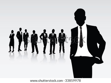 a man in business ahead of the others - stock vector
