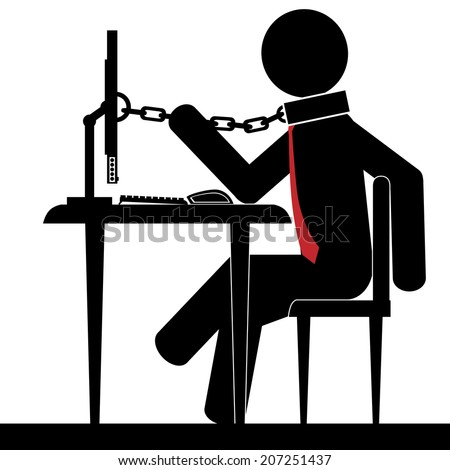 A man is chained to the desk. Illustration, vector. - stock vector