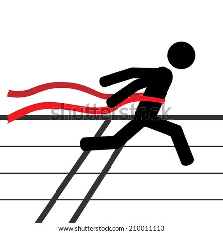 A man is running a marathon. It is a stick figure vector. EPS10  - stock vector