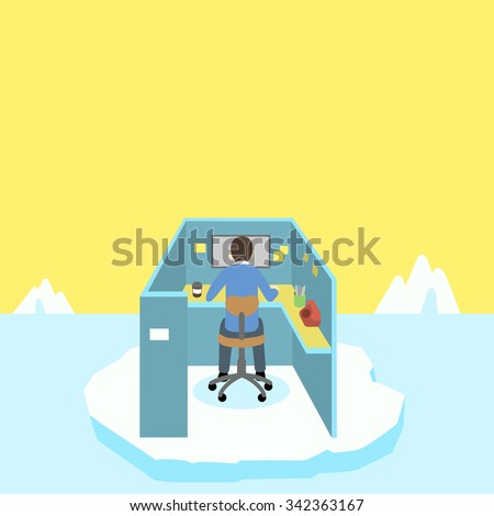 A man is working under pressure which is risky and lonely, like staying on iceberg all the time  - stock vector