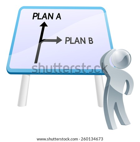 A man looking up at a direction road sign with the words plan a and plan b on it - stock vector