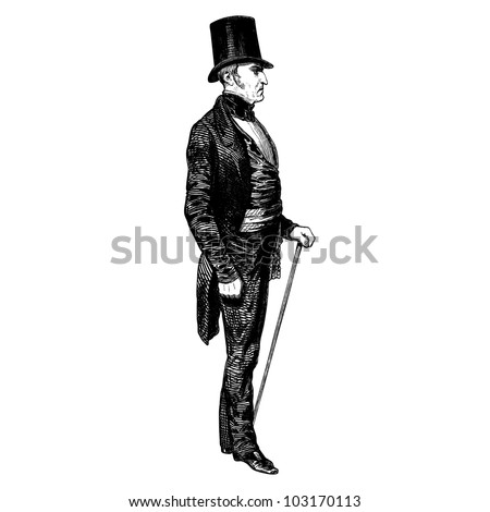 "A man of 1840 - Vintage engraved illustration - ""Les Francais"" by L.Curmer in 1842 France - stock vector"