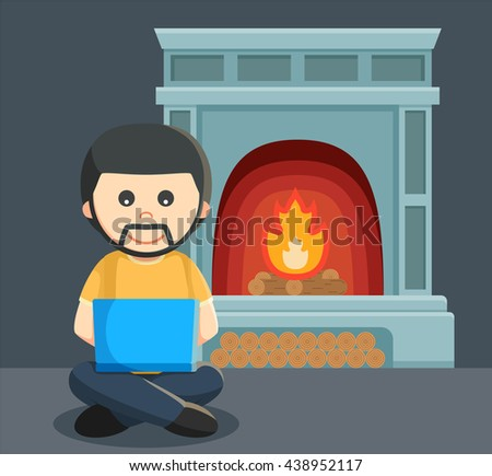 a man playing a laptop in front of the fireplace - stock vector