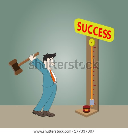 A man playing fair strength test game  high-striker with success - stock vector