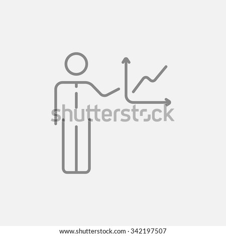 A man presenting his report through infographic line icon for web, mobile and infographics. Vector dark grey icon isolated on light grey background. - stock vector