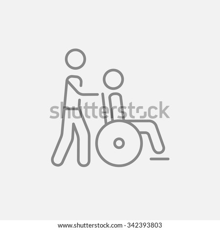 A man pushing a wheelchair with a patient line icon for web, mobile and infographics. Vector dark grey icon isolated on light grey background. - stock vector