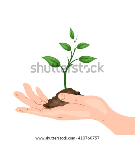 A man's hand holding a sprout with a handful of ground. Environmental protection, ecology concept illustration in flat style. Earth Day or World Environment Day. - stock vector