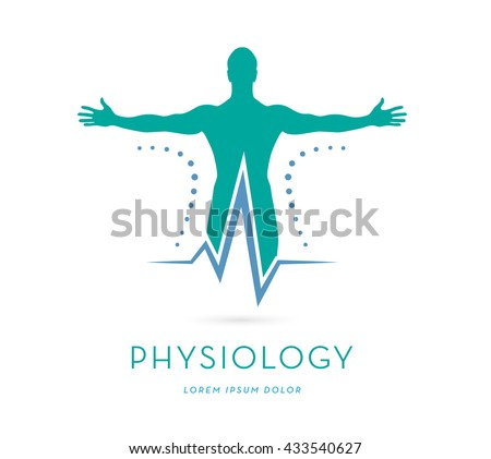 A MAN'S SILHOUETTE WITH OPES ARMS INCORPORATED WITH A HEARTBEAT , VECTOR LOGO / ICON - stock vector