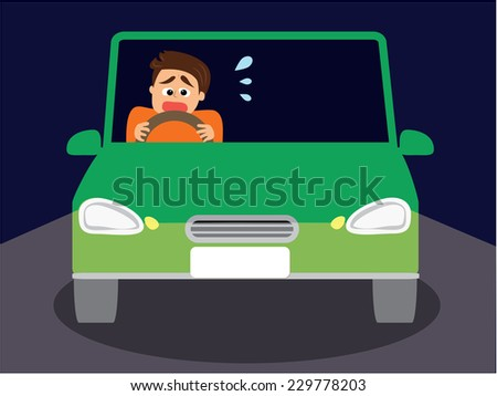 A man scared of driving at night, vector illustration - stock vector
