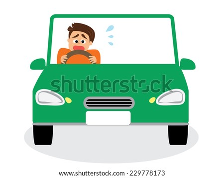 A man scared of driving, vector illustration - stock vector