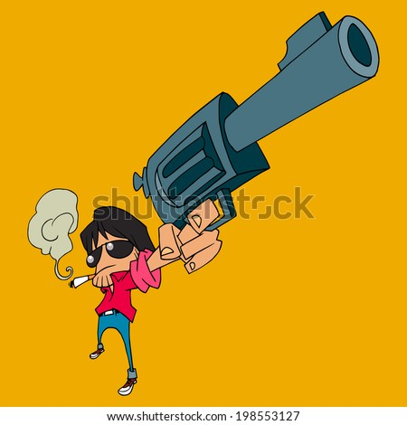 A man shooting the gun, vector design. - stock vector
