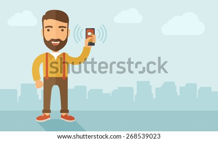 A man standing while holding smartphone with bubble, call and sends message via sms chat with internet wifi. Communication concept. A contemporary style with pastel palette, soft blue tinted - stock vector