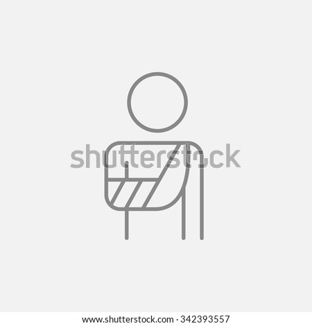 A man standing with broken arm in bandages line icon for web, mobile and infographics. Vector dark grey icon isolated on light grey background. - stock vector