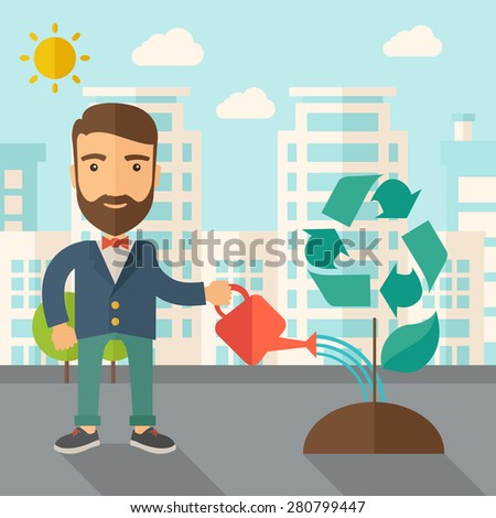 A man watering the green recycle tree to improve the ecology under the sun. A Contemporary style with pastel palette, soft blue tinted background with desaturated clouds. Vector flat design - stock vector