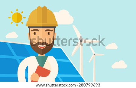 A man wearing hardhat smiling under the heat of the sun with solar panels and windmills. A Contemporary style with pastel palette, soft blue tinted background with desaturated clouds. Vector flat - stock vector