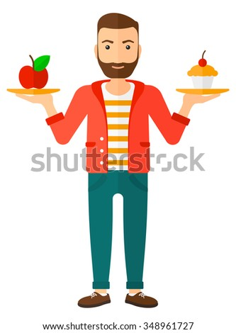 A man with apple and cake in hands symbolizing choice between healthy and unhealthy food vector flat design illustration isolated on white background. Vertical layout. - stock vector