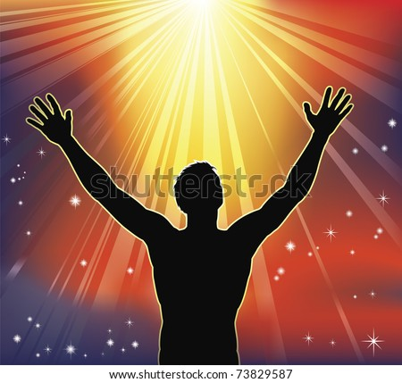 A man with arms raised to heaven. Conceptual illustration with many religious or secular interpretations. - stock vector