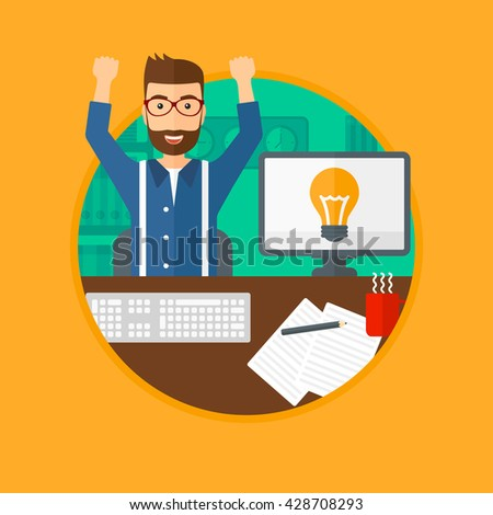A man with arms up having a business idea. Man working on a computer with a business idea bulb on a screen. Business idea concept. Vector flat design illustration in the circle isolated on background. - stock vector
