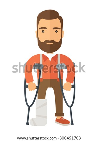A Man with crutches and broken bone. A Contemporary style. Vector flat design illustration isolated white background. Vertical layout - stock vector