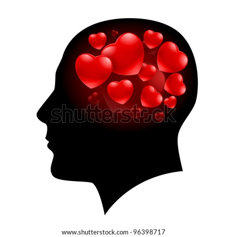 A Man with Hearts in his head and Valentine love on his mind - stock vector