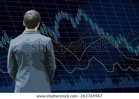 a man with stock exchange chart - stock vector