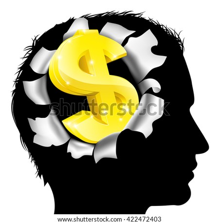 A mans head in silhouette with gold dollar sign symbol. Concept for thinking or dreaming about making money or business success or having a money making idea. - stock vector