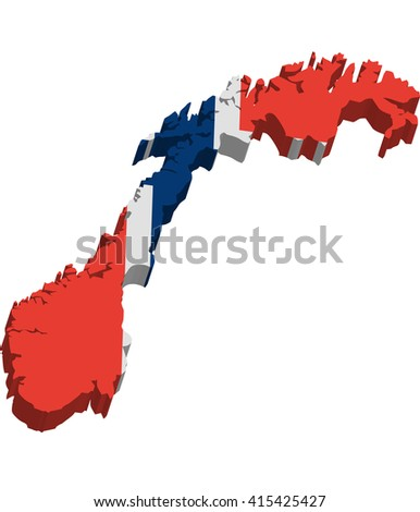 A map of Norway 3D with flag on white background - stock vector