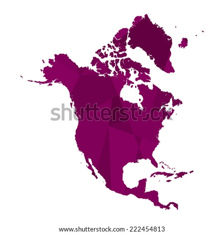 A Map of the continent of North America - stock vector