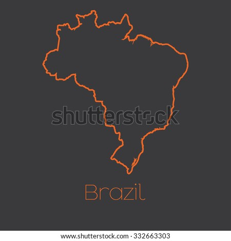 A Map of the country of Brazil - stock vector