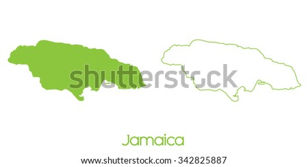 A Map of the country of Jamaica - stock vector