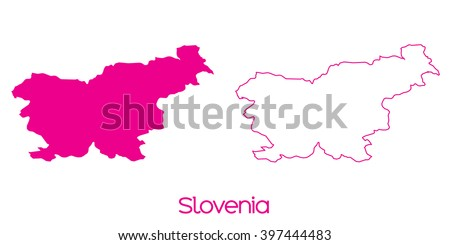 A Map of the country of Slovenia - stock vector