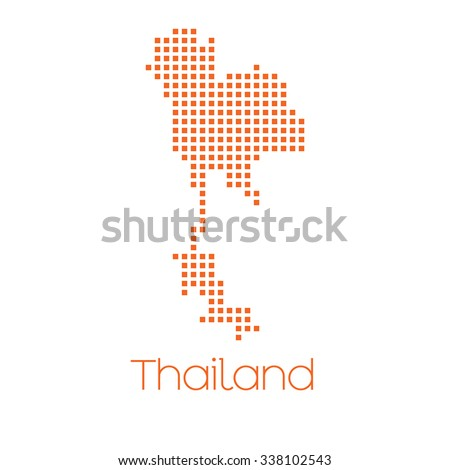A Map of the country of Thailand - stock vector