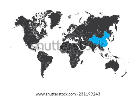 A Map of the world with a selected country of China - stock vector