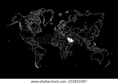 A Map of the world with a selected country of Saudi Arabia - stock vector