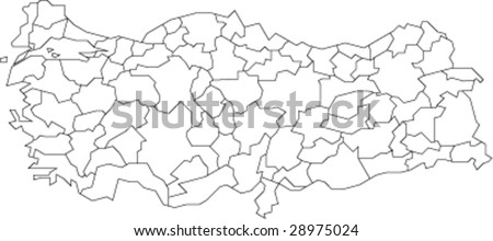 A map of Turkey showing the outlines of the provinces - stock vector