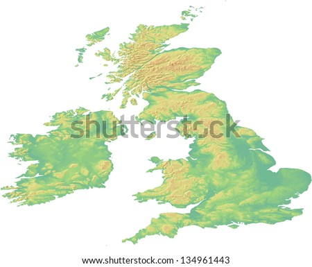 A map showing the land topography of Great Britain and Ireland with shaded relief and hypsometric tints on different layers in fully editable eps10 vector file. Data source: NASA. - stock vector