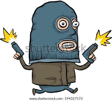 A masked, cartoon criminal running and shooting his guns in the air. - stock vector